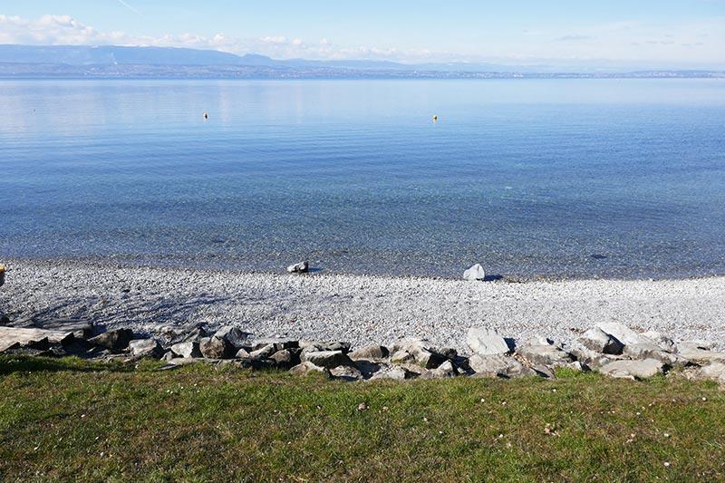 belle plage du lac Léman pinede thonon les bains